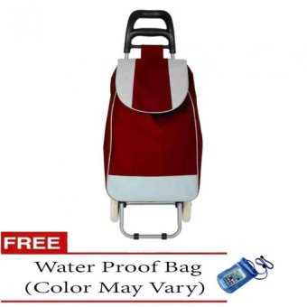 Fashion Folding Wheeled Shopping Trolley Bag (Red) with Free Water Proof Bag (Color May Vary)