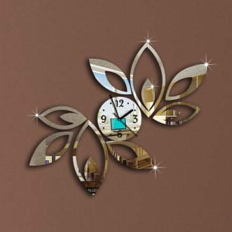 Fashion Lotus Flower Mirror Wall Clock For Bedroom Silver Price Philippines