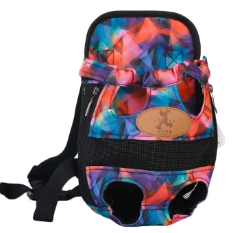 Fashion Pet Cat Dog Puppy Outdoor Traveling Front Backpack CarrierBreathable Dual Shoulder Bag with Leg Holes Size L for Pet LessThan 5.5kg Multi Color Style - intl