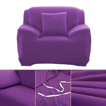 Fashion Slipcover Stretchable Pure Color Sofa Cushion Cover (ChairPurple) - intl