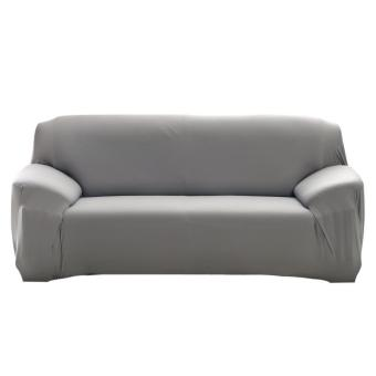 Fashion Slipcover Stretchable Pure Color Sofa Cushion Cover(Loveseat Grey) - intl