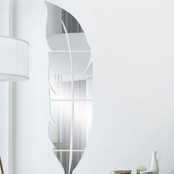 Feather Shaped Fitting Room Silver Mirror Style Sticker - intl