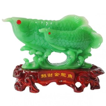 Feng Shui B2J Jadeite Arowana with Child Big Figurine (Jade)