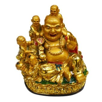 Feng Shui Charms Laughing Buddha with Children Size Small (Gold)