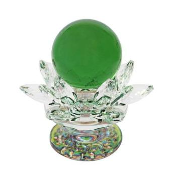 Feng Shui Green Crystal Ball with Lotus Crystal Holder Base