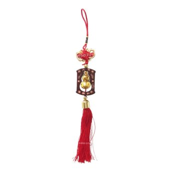 Feng Shui T-WMG Gold Wu Lou Gourd with Mystic Knot Tassel Lucky Charm Amulet (Red/Gold)