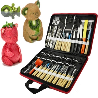Fengsheng 80Pcs Portable Vegetable Food Fruit Kitchen Carving ToolKit Wood Box - intl