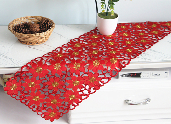 Festive embroidered red color European table cloth