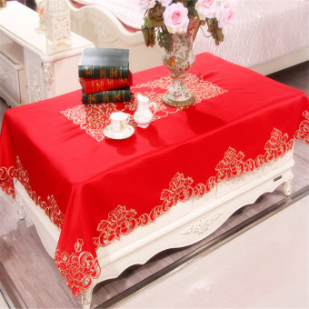 Festive red wedding table runner tablecloth