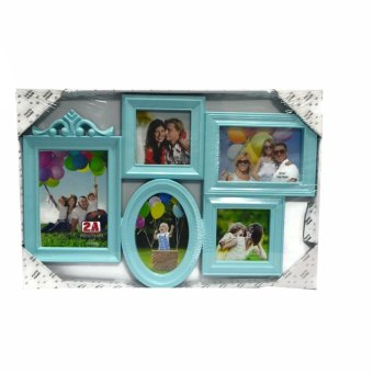 Five Frame With Oval Frame Design Collage Picture Frame (Blue)