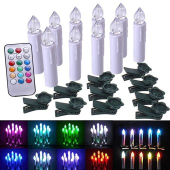 Flameless LED Taper Candles with Remote Control and Timer Flickerand Removable Clips,Drip Effect - Multi Color Option AA batteryOperated Multi-purpose For Christmas Tree Light /Home DeskDecoration - 4 Inch, Set of 10 - intl