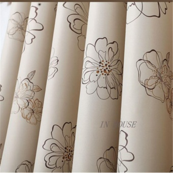 Floral Pattern Sun Insulation Blackout Window Door Curtain - Beige Curtain - intl