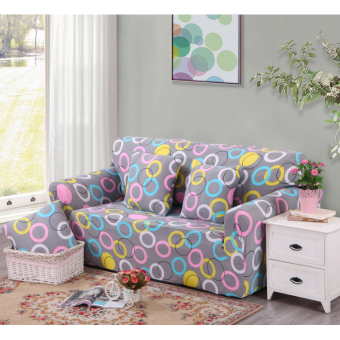 Floral Series Spandex Stretch Fitted Sofa Case Cover For 4 Seater intl