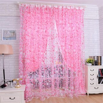 Floral Tulle Voile Door Window Curtain Drape Panel Sheer Valances(Pink)