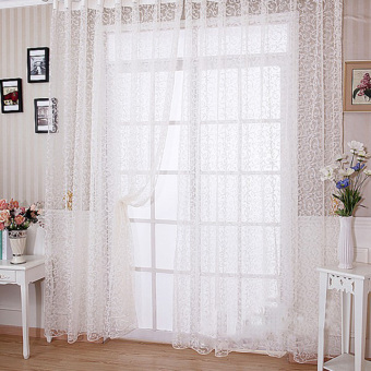 Floral Tulle Voile Door Window Curtain(White)