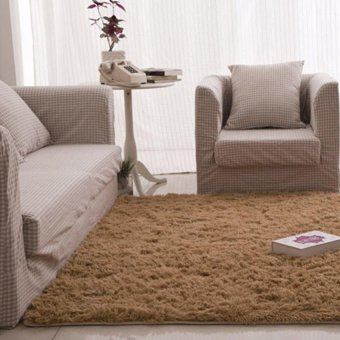 Fluffy Rugs Anti-Skid Shaggy Area Rug Dining Carpet Floor Mat Camel- intl