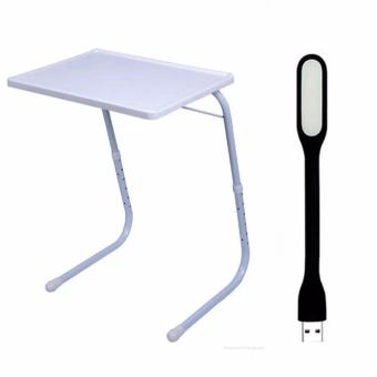 Foldable and Adjustable Multi-Purpose Table Mate 2 (White) with Led lights Color May Vary