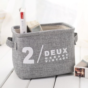 Foldable Cotton Desktop Storage Basket Box for Clothes Sundries Cosmetics Storage - intl