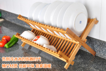 Foldable double layer plate storage rack dish rack