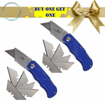 Foldable Knife 2 pcs with free blades (blue)