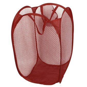 Foldable Laundry Bag Mesh Storage (Maroon)