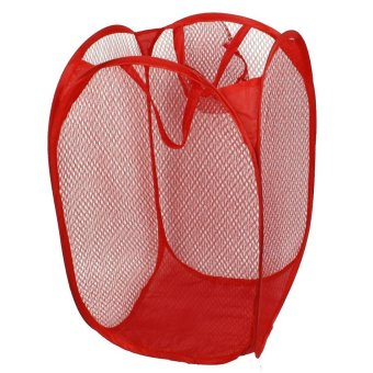Foldable Laundry Bag Mesh Storage (Red)