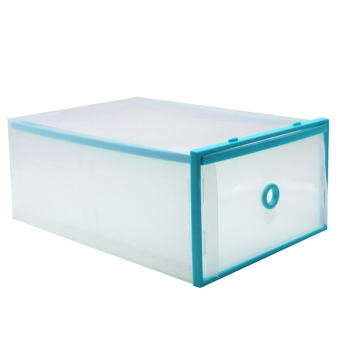 Foldable Plastic Transparent Drawer Case Shoe Storage OrganizerStackable Box (Blue)(Small)