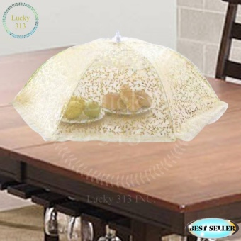 Foldable Umbrella Style Mesh Food Covers Yellow