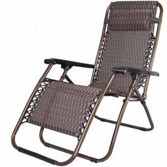 Foldable Zero Gravity Lounge Reclining Chair with Adjustable Headrest for Home and Office Napping, Patio, Garden, Camping, Beach (Zigzag Brown)