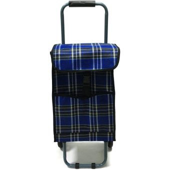 Folding Wheeled Festival Shopping Trolley Bag (Blue plaid)