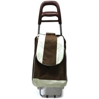 Folding Wheeled Festival Shopping Trolley Bag (Brown)