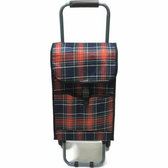 Folding Wheeled Festival Shopping Trolley Bag (Red plaid)