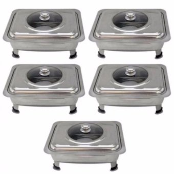 Food Warmer Rectangular Tray Stainless for Catering, Serving ,Events and Party Set of 5