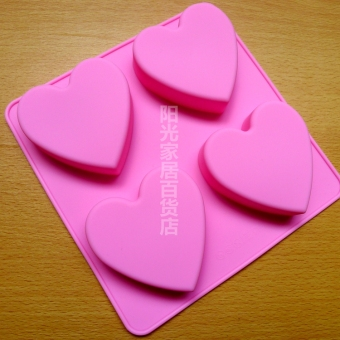 Four even heart silicone cake heart Mold
