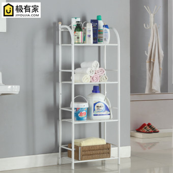 Four layer floor organizing rack shelf