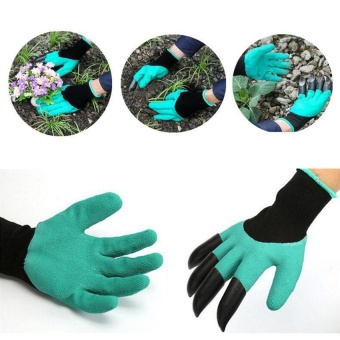 Garden Gloves with 4 ABS Claws for Digging and Planting ProtectiveWaterproof Insulated Gloves - intl