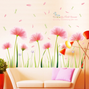 Garden pink living room backdrop bedroom wall adhesive paper wall stickers