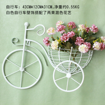 Garden wall wrought iron bicycle baskets