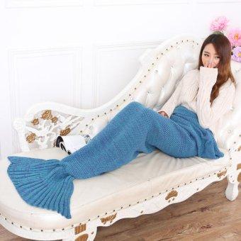 "Garment Crochet Mermaid Tail Blanket for Kids Teens Adult,Crochet Knitting Blanket Seasons Warm Soft Living Room Sleeping Bag Best Birthday Christmas Gift ""28x55"" Inch,Lake Blue - intl - picture 2"