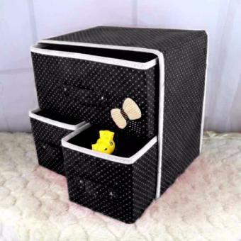 G@Best Foldable Non-Woven Fabric Cube with Three Drawers Design(Black) Price Philippines