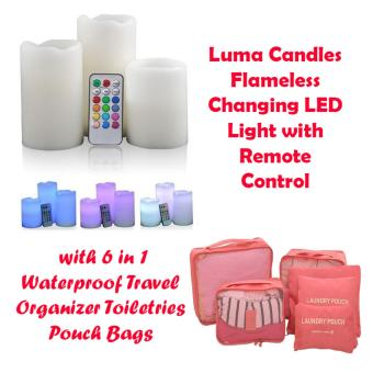 G@Best Luma Candles Flameless Changing LED Light with Remote Control Timer with 6 in 1 Waterproof Travel Laundry Pouch Cosmetics Make-up Bags Organizer