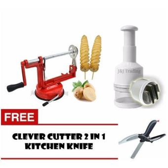 G@Best Spiral Potato Slicer and Kitchen Pressing Food Chopper Cutter Slicer Peeler Dicer Vegetable Onion Garlic (White) with FREE Clever Cutter 2 in 1 Kitchen Knife & Cutting Board Scissors Stainless Steel