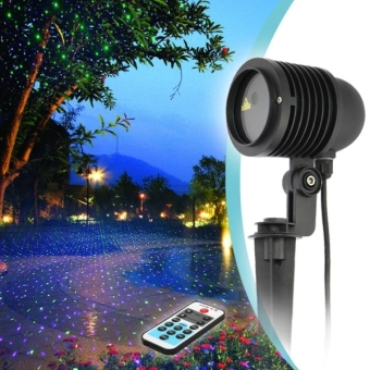 GDF01RGB 8W Life Waterproof Stars Pattern Outdoor Lawn Yard GardenDecorative Laser Projector Lamp With Remote Controller(ColorfulLight) - intl