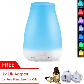 GearUshop Ultrasonic Waterless Auto Shut-off 100ml Diffuser Aroma Cool Mist Humidifier 7 Colors Changing LED Light Lamp + GIFT 10ml Plant Essential Oil + UK Adapter - intl Price Philippines
