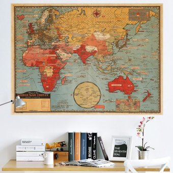 Shop online hapihomes world map wall decoration philippines price jingle retro world map removable wall sticker multicolor gumiabroncs Image collections