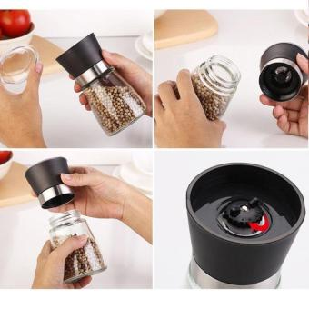 Glass Salt Pepper Mill Grinder Spice Container Condiment Jar Holder Grinding Bottle color:Black - 3