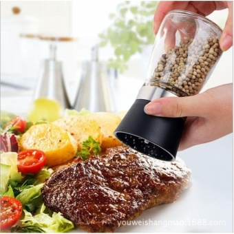 Glass Salt Pepper Mill Grinder Spice Container Condiment Jar Holder Grinding Bottle color:Black