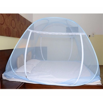 GMY Classic Queen Size Double Plain Mosquito Net (Blue)