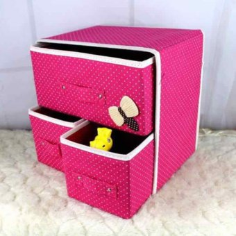 GMY Foldable Woven Clothing Storage Box (Pink)