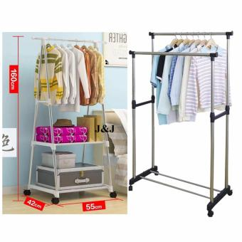 GMY Heavy Duty Garment Rack (White) with Adjustable Double PoleClothes Rack
